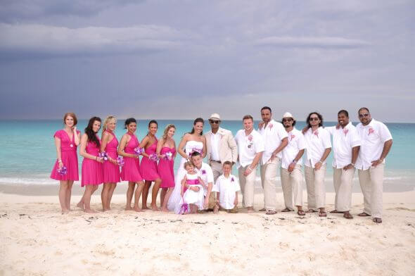 bridal party at beach