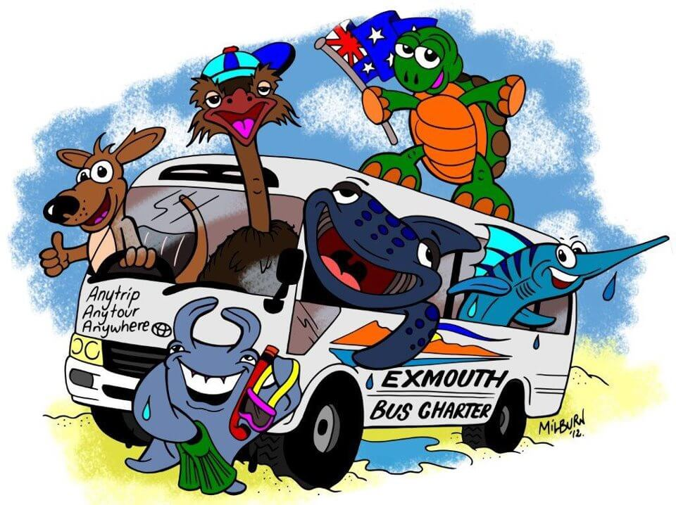 exmouth bus charter cartoon picture